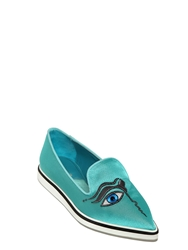 Nicholas Kirkwood 20Mm Eye Embroidered Silk Loafers Turquoise