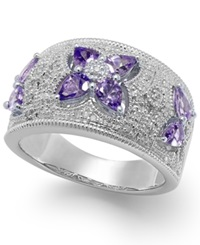 Macy's Tanzanite 1 1 8 Ct. T.W. And Diamond Accent Ring In Sterling Silver