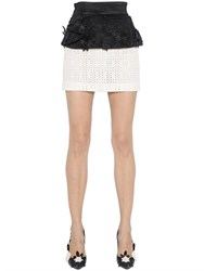 Emanuel Ungaro Two Tone Embroidered Lace Mini Skirt