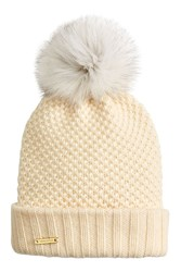 Burberry Shoes And Accessories Wool Cashmere Hat With Fox Fur Pompom White