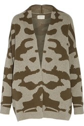 Current Elliott The Oversized Intarsia Knit Wool And Cotton Blend Cardigan Army Green