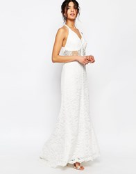 Jarlo Petite Allover Lace Halter Neck Maxi Dress With Lace Waist Insert White