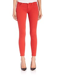 J Brand 9227 Low Rise Ankle Crop Pompeian Red