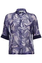 Almost Famous Rope Print Silk Blouse Blue