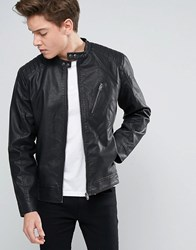Jack And Jones Biker Jacket In Faux Leather Black