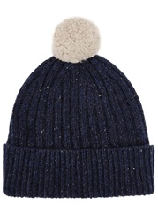 Johnstons Of Elgin Dark Blue Melange Cashmere Beanie