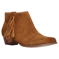 Miss Kg Sassy Suede Tassel Ankle Boots Tan
