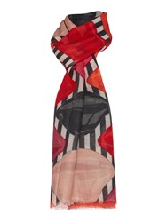 Lulu Guinness Lips And Stripe Print Wool Scarf Multi Coloured Multi Coloured