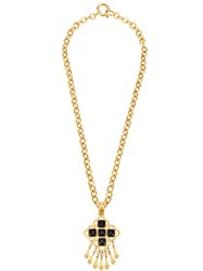 Chanel Vintage Cc Stone Fringed Chain Necklace Metallic