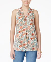 Almost Famous Juniors' Sleeveless Tie Neck Blouse Cream Coral Floral