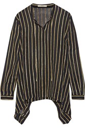 Etro Striped Silk Blend Chiffon Shirt Black