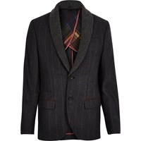 River Island Mens Navy Checked Shawl Collar Slim Blazer