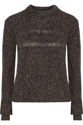Rebecca Minkoff Durand Merino Wool Blend Boucle Sweater Gray