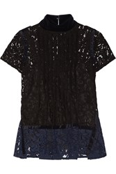 Sacai Velvet Trimmed Pintucked Guipure Lace Top Black