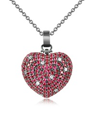 Azhar Sterling Silver And Cubic Zirconia Heart Pendant Necklace Red