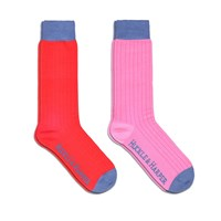 Huckle And Harper Socks Pack Cotton Red And Pink Red Blue Pink