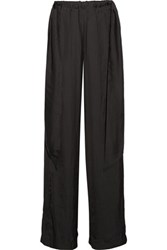 Cedric Charlier Washed Satin Wide Leg Pants Black