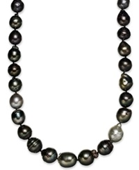Macy's Sterling Silver Necklace Multi Colored Cultured Tahitian Pearl 9 11Mm Baroque Strand Necklace