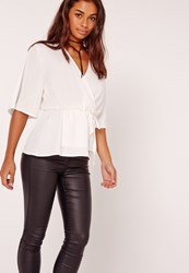 Missguided Satin Elastic Waist Tie Front Blouse White Ivory