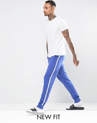 Asos Loungewear Skinny Jogger In Blue With White Side Stripe Baleric Multi