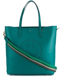 Anya Hindmarch Smiley Featherweight Ebury Leather Tote Green Multi Coloured