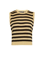 Dolce And Gabbana Metallic Stripes Fine Knit Sleeveless Top