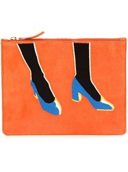 Lizzie Fortunato Jewels Shoes Print Clutch Yellow And Orange