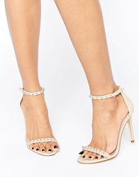 Aldo Mckinnons Embellished Barely There Leather Heeled Sandals Tan White