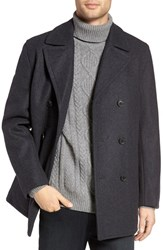 Michael Kors Men's Wool Blend Double Breasted Peacoat New Charcoal