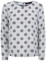 Jaeger Silk Graphic Dot Print Top Grey