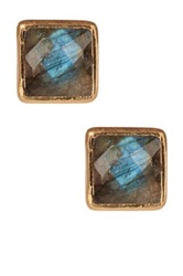Felix And Lola 18K Gold Clad Sterling Silver Faceted Princess Cut Labradorite Earrings No Color