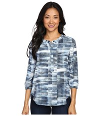 Nydj Petite Solid 3 4 Sleeve Pleat Back Lady Luck Houndstooth Women's Long Sleeve Pullover Blue