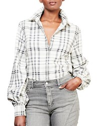 Lauren Ralph Lauren Plaid Bishop Sleeve Shirt Grey Multi