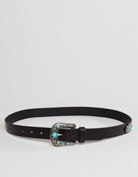 Asos Leather Turq Stone Western Jeans Belt Black