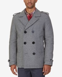 Nautica Men's Military Inspired Peacoat Heather Grey