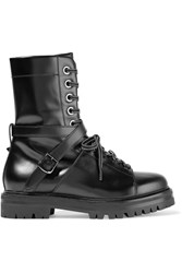 Valentino Lace Up Leather Boots Black