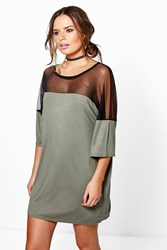 Boohoo Mesh Insert T Shirt Dress Khaki