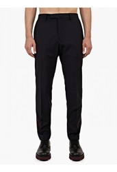 Valentino Navy Stripe Detail Wool Trousers