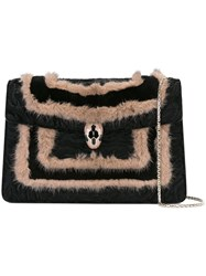 Bulgari Fur Trimmed 'Serpenti Forever' Bag Black