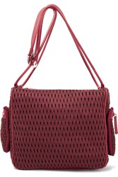 M Missoni Boucle Crochet Knit And Leather Shoulder Bag Red