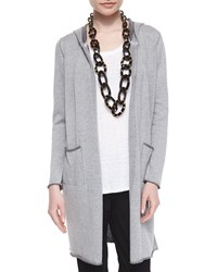 Eileen Fisher Hooded Organic Cotton Long Cardigan Petite Dark Pearl