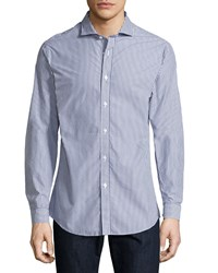 Jachs Madison Tailored Striped Sport Shirt Black White