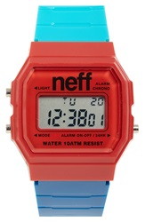Neff 'Flava Xl' Digital Watch 38Mm X 27Mm Red Blue Teal