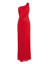Anoushka G Alara Mesh Asymmetrical Maxi Dress Red