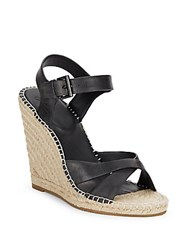 Joie Lena Leather Espadrilles Black