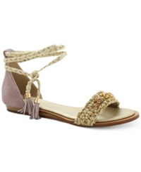 Nanette By Nanette Lepore Magnolia Jeweled Lace Up Sandals Only At Macy's Women's Shoes Natural
