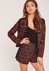 Missguided Embroidered Aztec Shorts Black