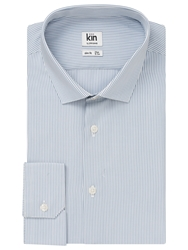 Kin By John Lewis Eldon Fine Stripe Long Sleeve Shirt Steel Blue