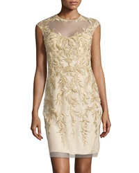 Basix Black Label Beaded Cocktail Dress Gold