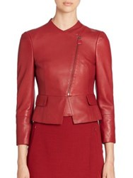Akris Finch Cropped Leather Jacket Miracle Berry